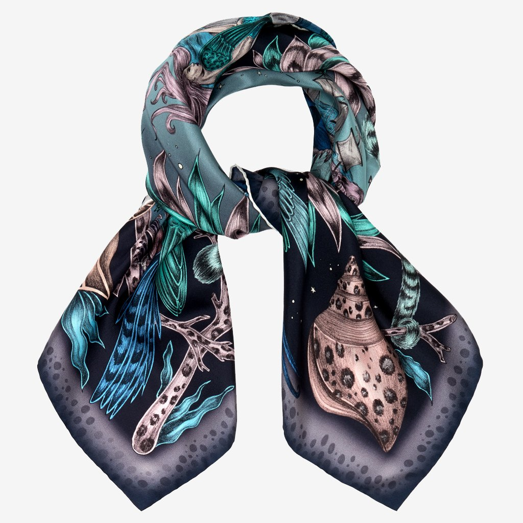 A tied example of the Sirens Silk Twill Scarf by Emma J Shipley.