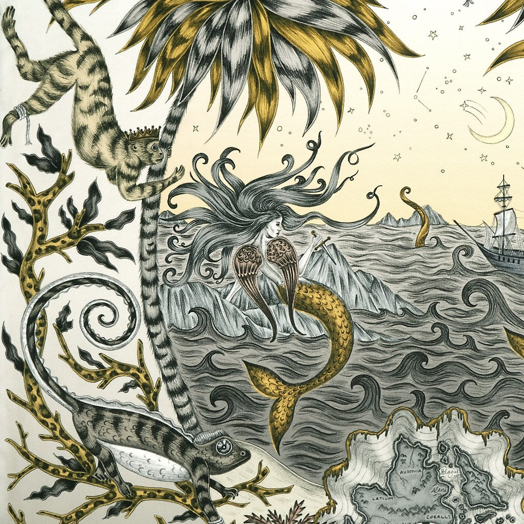 A detailed look at the Siren in Gold, surrounded by mythical creatures hand-drawn by Emma J Shipley on a silk twill scarf.