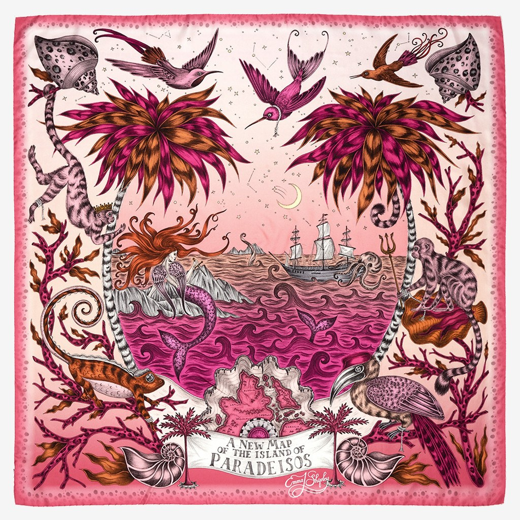 Flat shot image of the Sirens Silk Twill Scarf in Magenta by luxury designer and illustrator Emma J Shipley