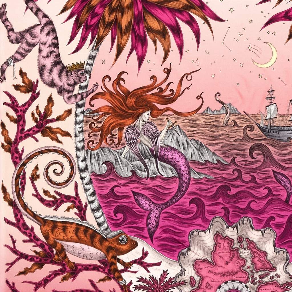 A detailed look at the Siren in Magenta, surrounded by mythical creatures hand-drawn by Emma J Shipley on a silk twill scarf.