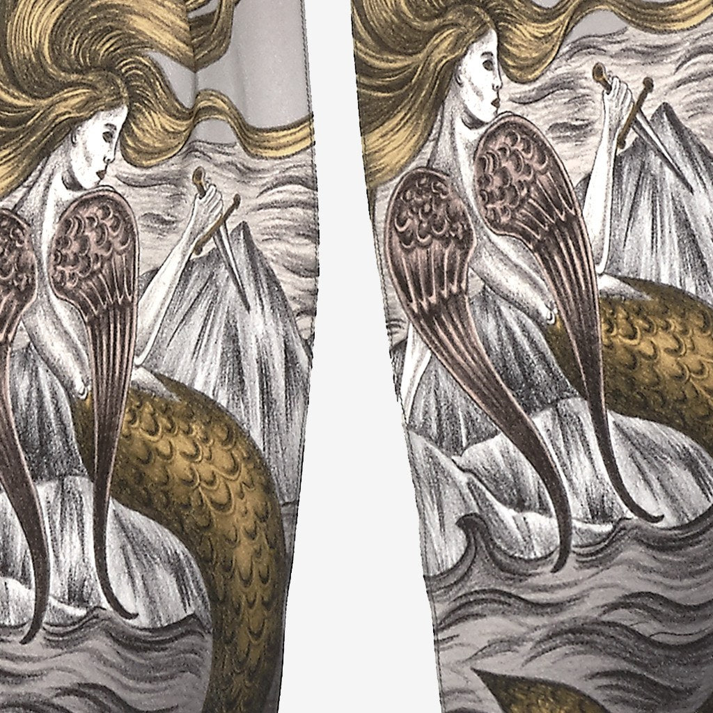 A detailed look at the Siren in Black, surrounded by mythical creatures hand-drawn by Emma J Shipley on a silk skinny scarf.