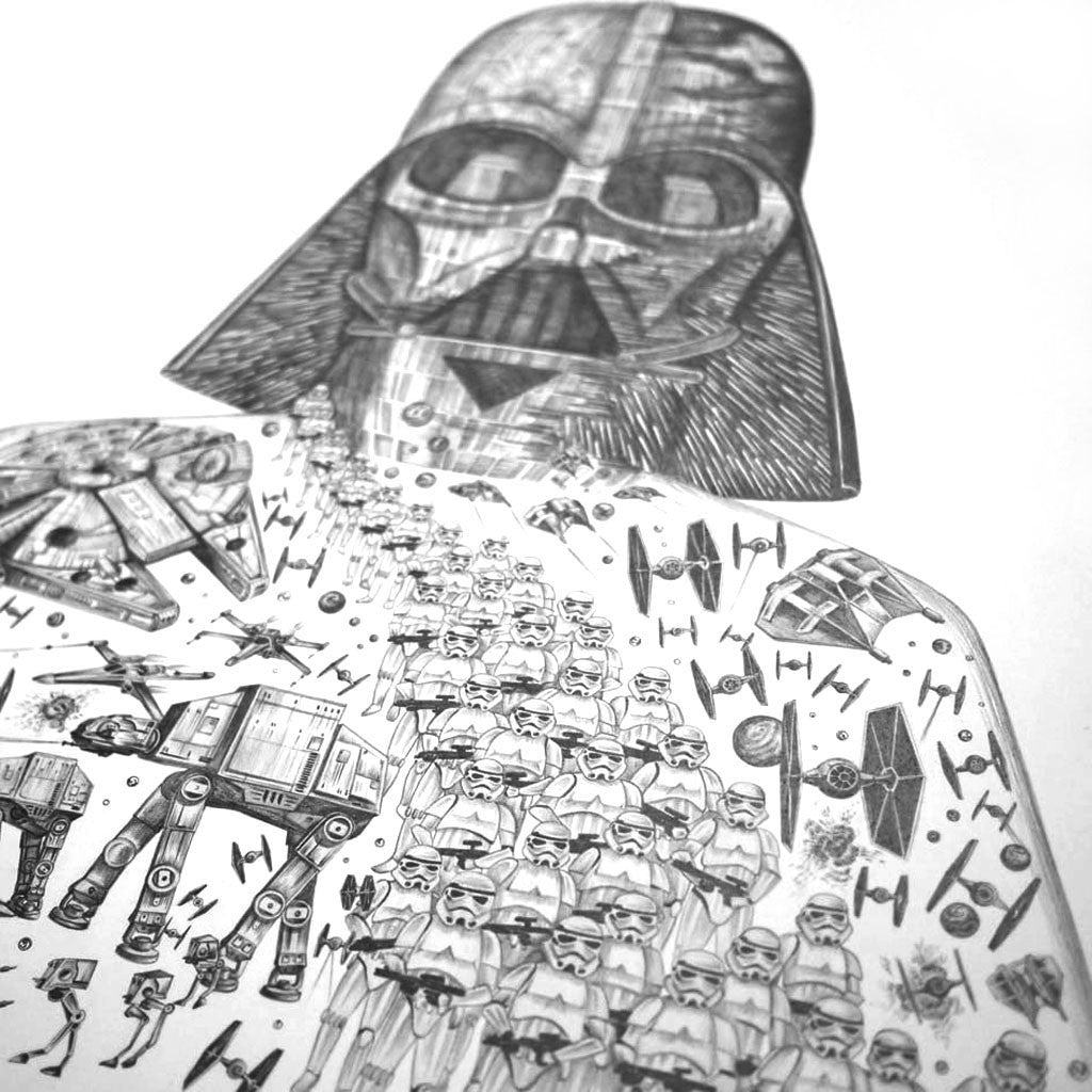 Emma J Shipley Star Wars inspired fine art drawing in pencil