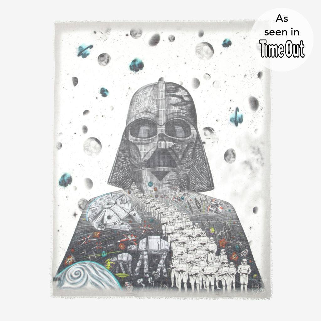 Emma J Shipley Darth VAder scarf with fine art design inspired by star wars original saga