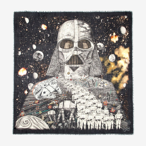 Star Wars inspired scarf with Darth Vader and Stormtroopers in black by Emma J Shipley
