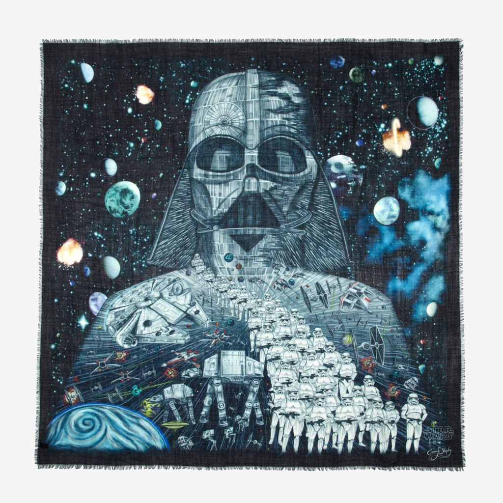 Mens Star Wars luxury gift - large fine wool illustrated scarf
