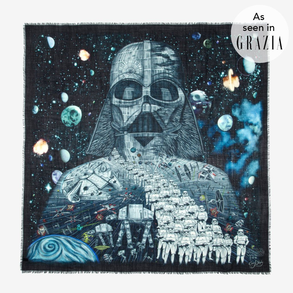 Emma J Shipley Star Wars luxury wool scarf perfect gift with Darth Vader and Stormtroopers