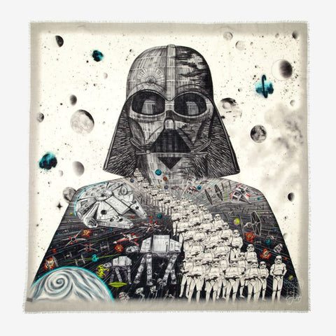Luxury fine art star wars scarf illustrated by Emma J Shipley