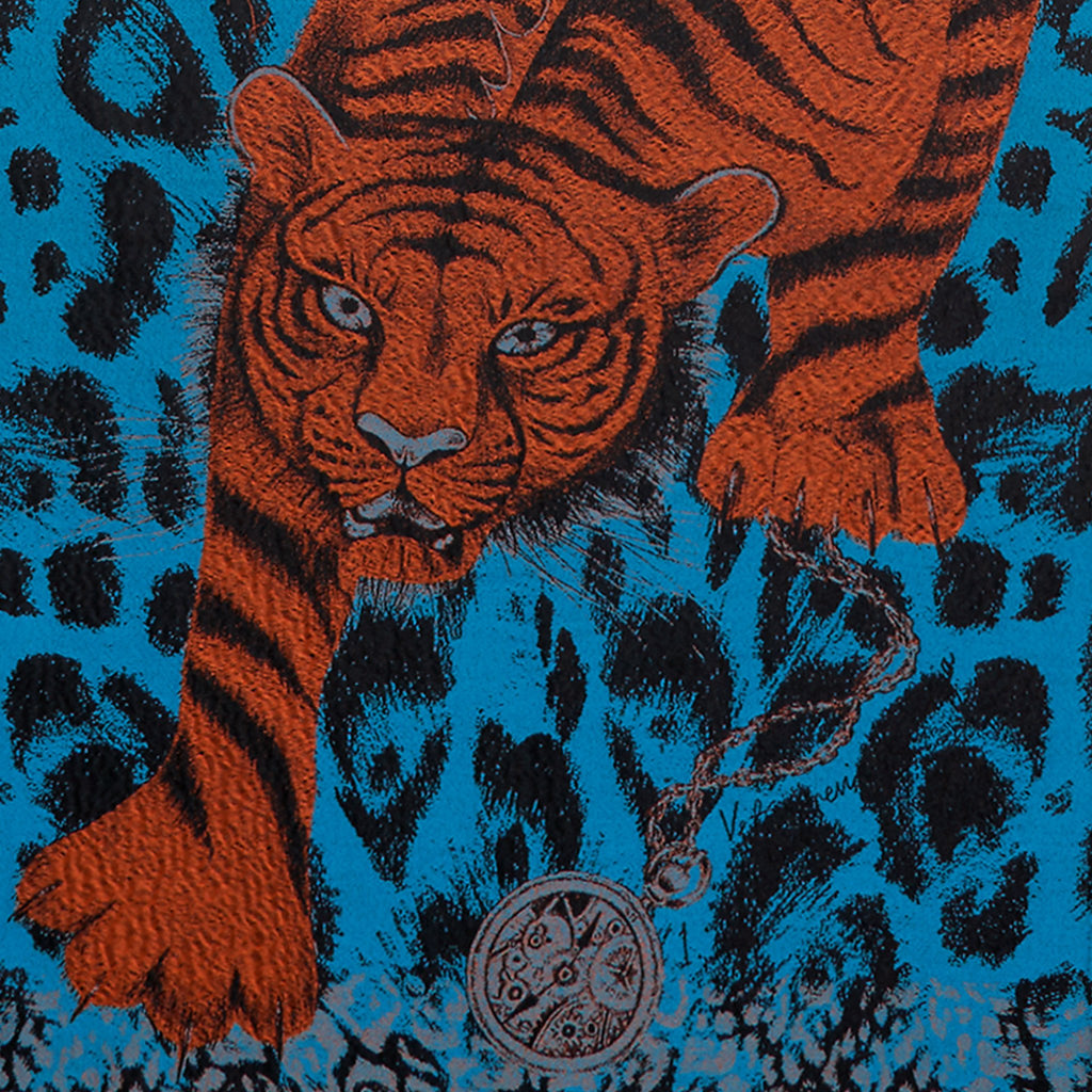 Emma J Shipley wool and silk woven luxury tiger scarf detail