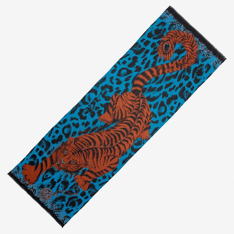 Emma J Shipley luxury jacquard woven Tiger scarf with fringing in teal colour