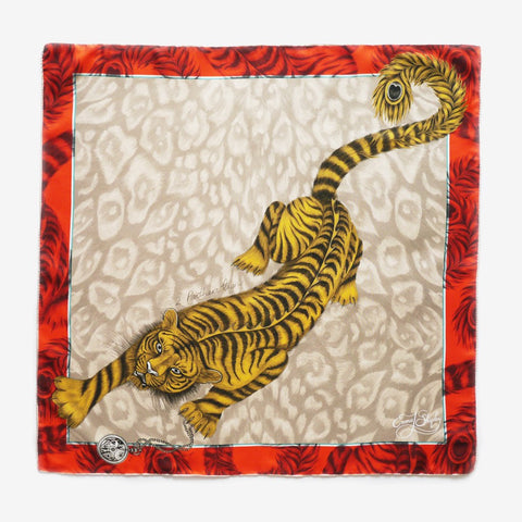 The Tigris Silk Neckerchief in Flame by luxury designer and illustrator Emma J Shipley.