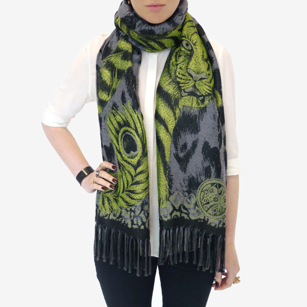 Tigris Jacquard Woven Scarf with Tassels