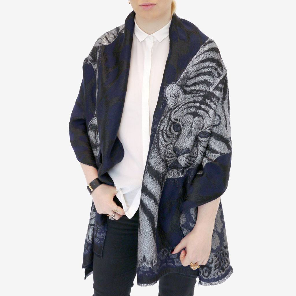 Tigris Jacquard Woven Scarf with Fringing