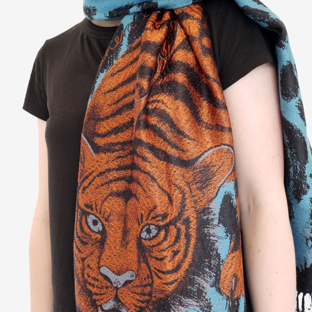 How to wear and style an Emma J Shipley silk woven Tigris scarf