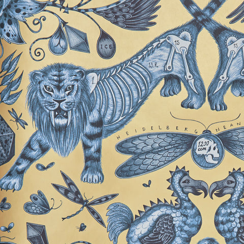 The magical scene upon the Extinct wallpaper designed by Emma J Shipley x Clarke & Clarke
