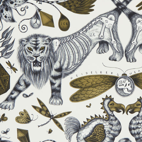 Fantastical beasts and creatures such as the dodo and Sabre-toothed tigers feature in the Extinct wallpaper from the Animalia collection by Emma J Shipley and Clarke & Clarke