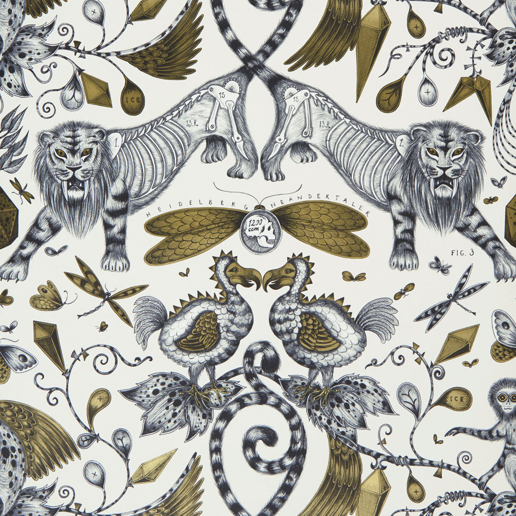 Magical beasts and creatures feature in the Extinct wallpaper by Emma J Shipley and Clarke & Clarke