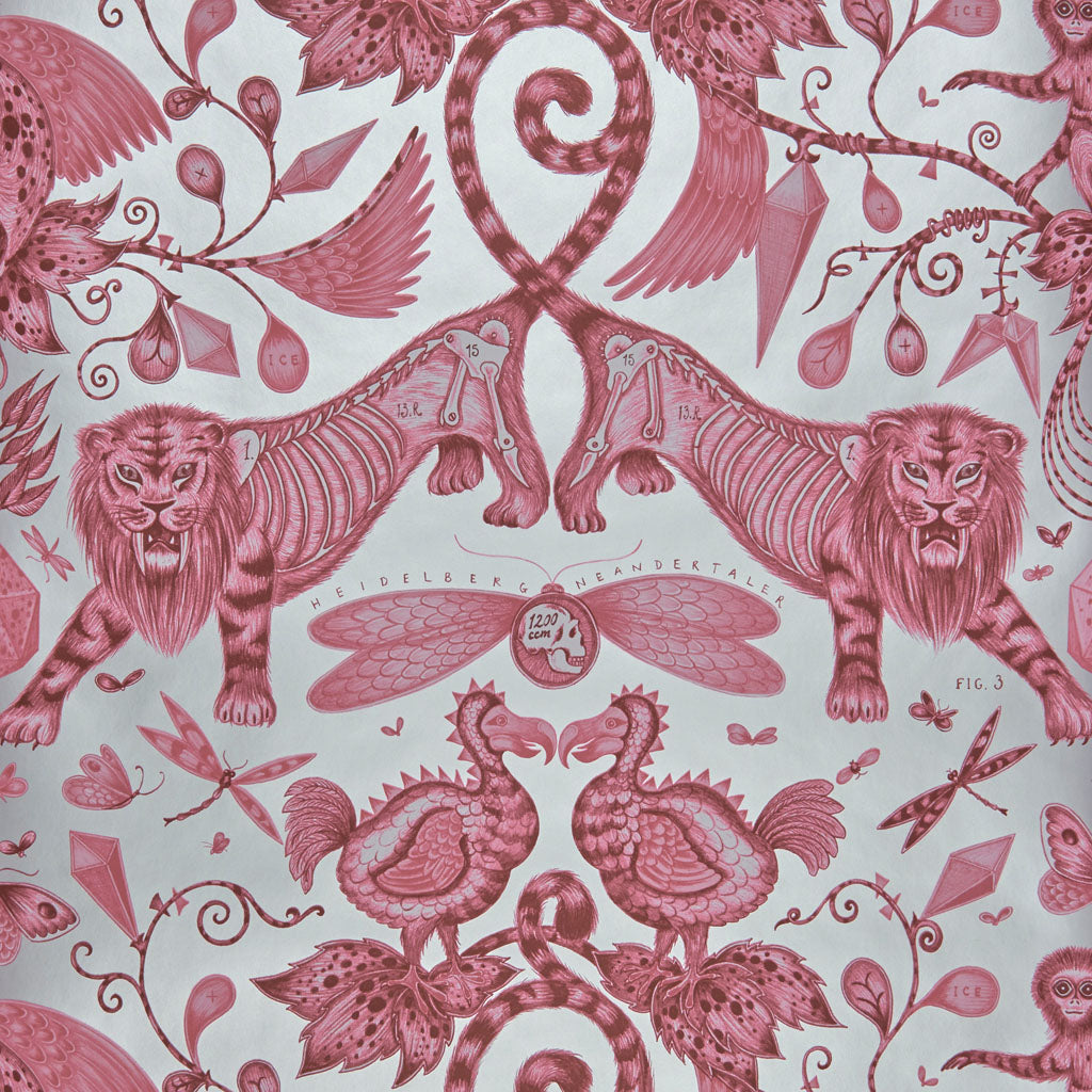 Fantastical beasts and creatures feature in the Extinct wallpaper by Emma J Shipley and Clarke & Clarke