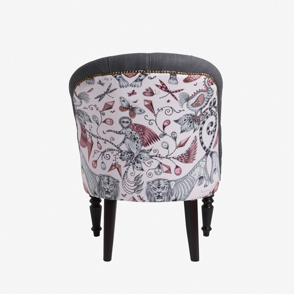 Design detail of the Extinct cotton satin fabric used to upholster this modern occasion chair. Made by Emma J Shipley in collaboration with Clarke & Clarke