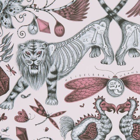 Details of the glorious metallic Extinct wallpaper designed by Emma J Shipley x Clarke & Clarke
