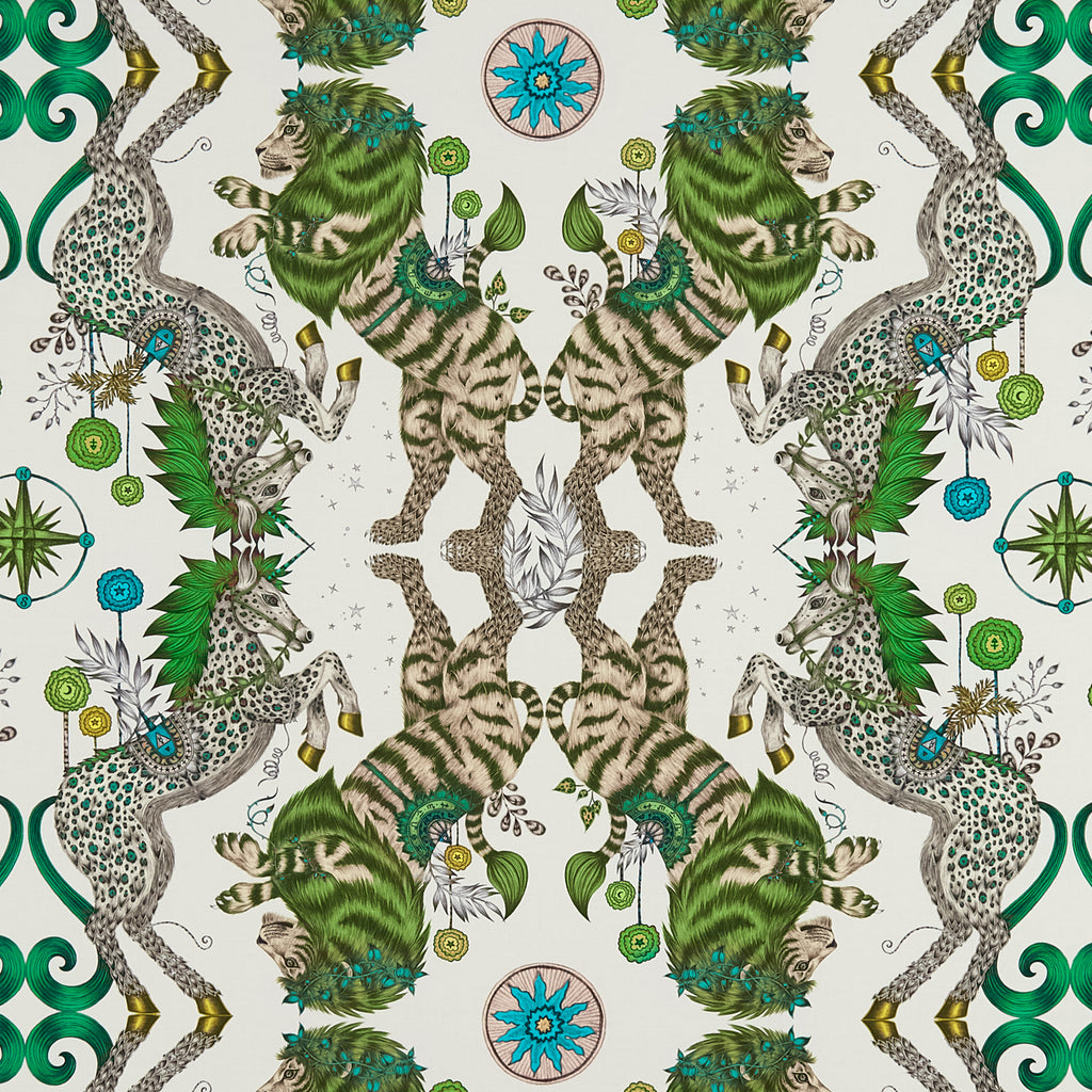 The Caspian Cotton Satin Fabric features a lion and unicorn design inspired by The Chronicles of Narnia. From our magical Wilderie collaboration with interior experts Clarke & Clarke, designed by Emma J Shipley. In this stunning green colour it compliments any room and can be used to make curtains, upholster chairs and for making cushions.