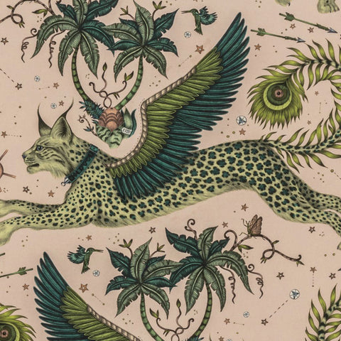 Lynx Lime Linen close view, showing a detailed look at the Lynx, Palm Trees and Wings. Designed by Emma J Shipley as part of the Wilderie collection
