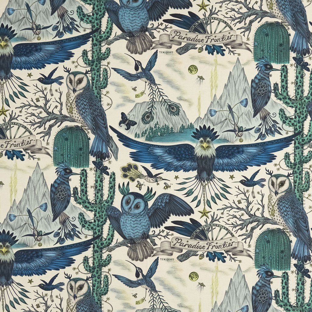 A detailed picture of the Frontier print on Linen for the New Wilderie Collection made with Clarke & Clarke by Emma J Shipley. The subtle blues and greys really work well together on the linen to create a magical animal themed furnishings.