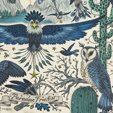 A Close look at the new Frontier blue linen for the New Emma J Shipley collection entitled Wilderie