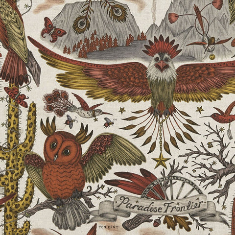 The New Wilderie collection features the frontier print in Gold Yellow on Linen designed by Emma J Shipley. Featuring an Eagle, Owl and a Cactus in orange and yellow tones that brings the whole design together.