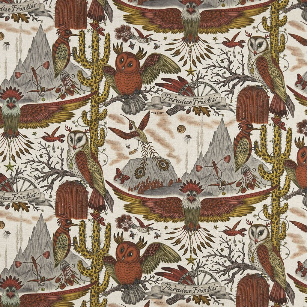 A further look at the Frontier Linen in Gold Yellow designed by Emma J Shipley with Clarke & Clarke. The Overall print has a very magical feel to it with the Owls and Eagles flying through the sky, perfect for any wild nature themed home interior