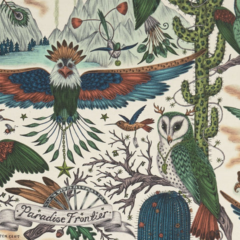 A closer look at the Frontier Linen in Lime, Hand drawn by Emma J Shipley and produced with Clarke & Clarke. These gorgeous greens, corals, blues and greys, they really make this design of owls and eagles stand out on the Linen.