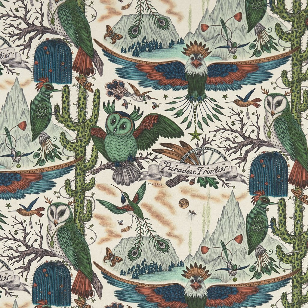 An overall view of the Frontier Print in Lime, printed onto linen for the new Wilderie collection done by Emma J Shipley with Clarke & Clarke. The overall design is really magical, with all the owls, cacti and eagles this design really comes to life, adding a pop of excitement to any nature themed interior home scheme