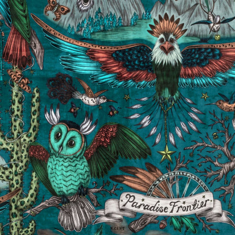 A close up look at the Frontier Print in the colour Teal, designed by Emma J Shipley and produced with Clarke & Clarke. This dark tone makes the Frontier design really stand out and give it a completely different look, the velvet is the perfect fabric for upholstery, curtain drapery, making blinds and other soft home furnishings.