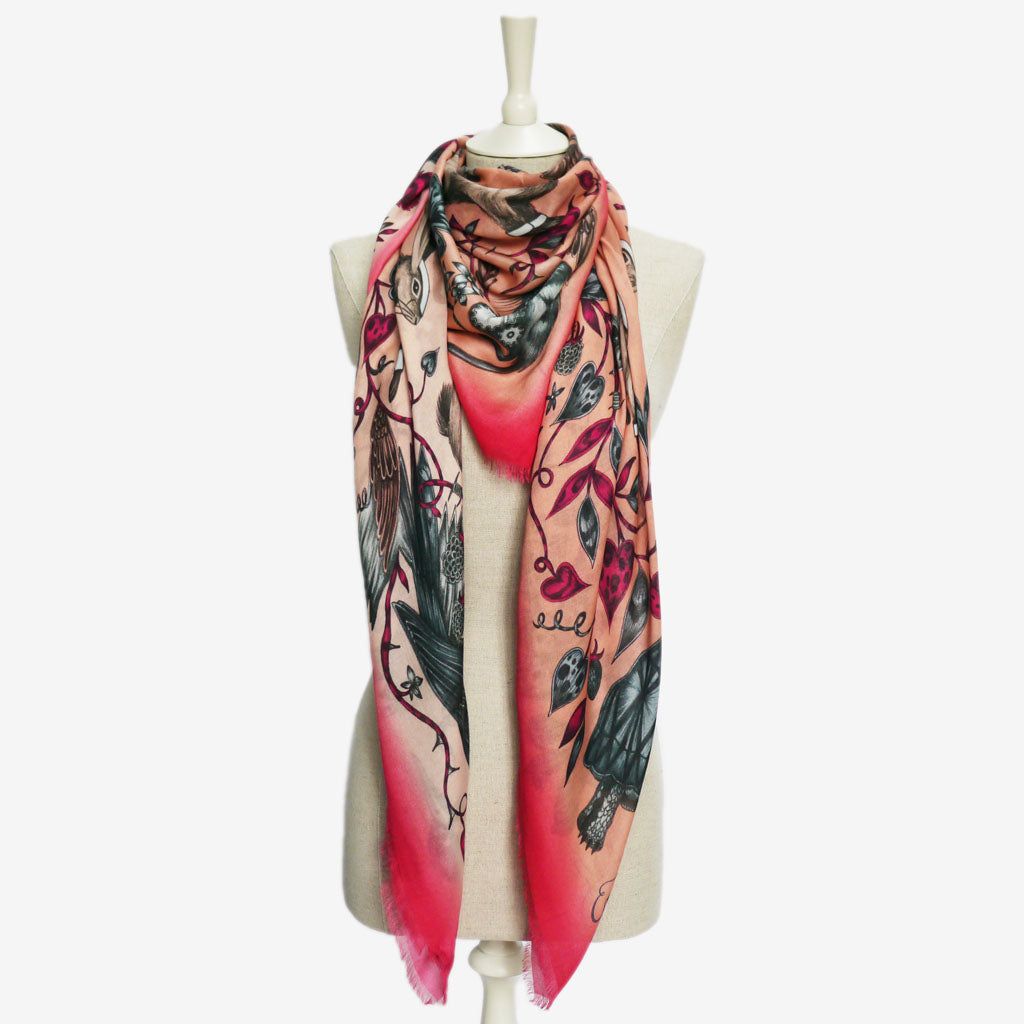 How to wear the Frith Modal Blend Scarf, hand drawn and designed by Emma J Shipley in the stunning pink colour way