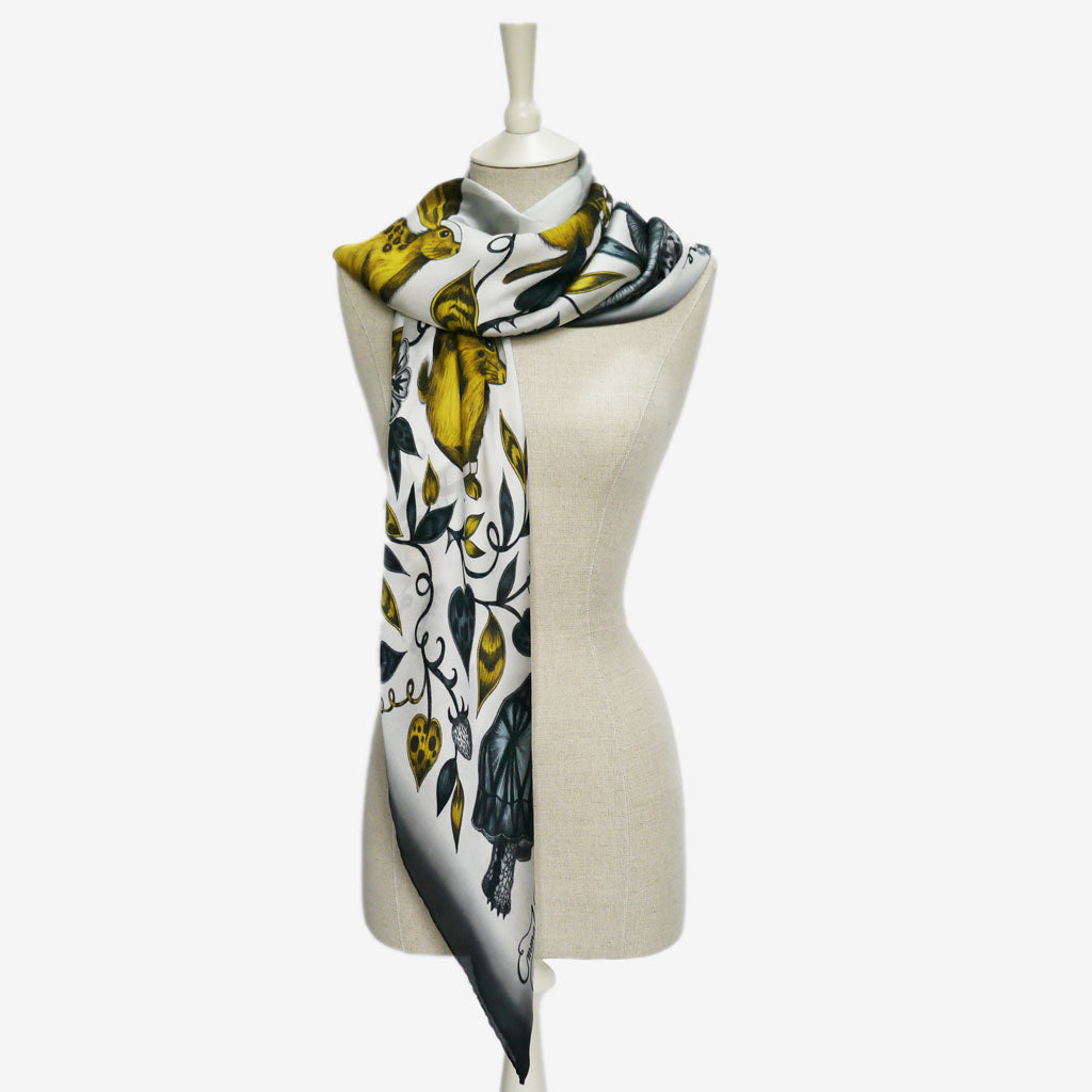 How to wear the Frith Silk Chiffon Scarf designed by Emma J Shipley