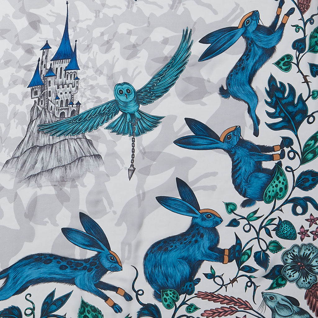 A striking blue silk chiffon scarf designed by Emma J Shipley, featuring the unique and imaginative Frith design