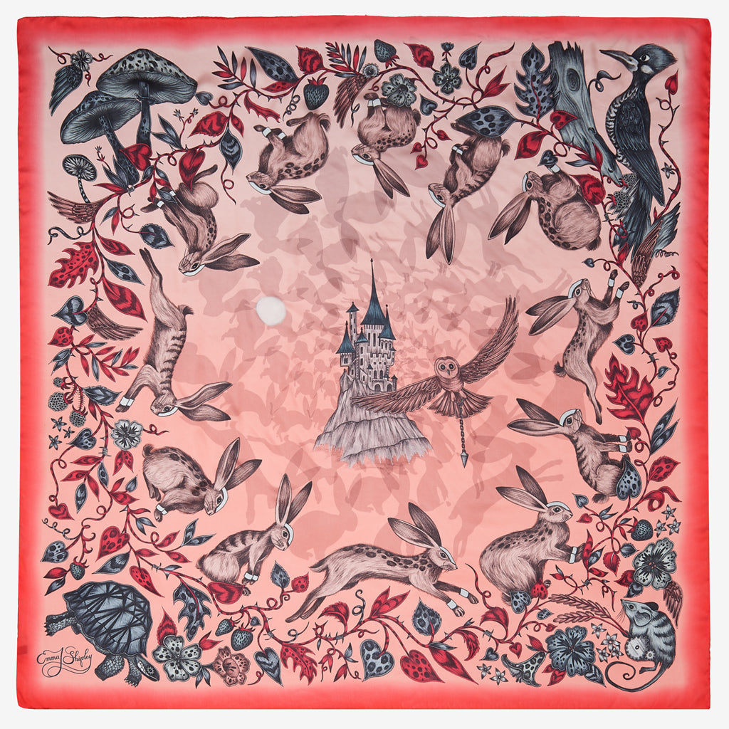 The beautiful Frith design by Emma J Shipley features on the Silk Chiffon Scarf