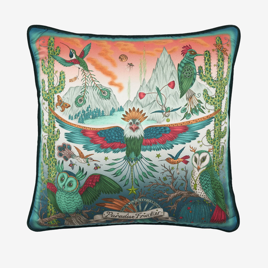 The Front of the Frontier cushion in Lime showing the Wide spread American eagle, cactus and owls, designed by Emma J Shipley, this silk cushion is perfect to throw on your bed or to brighten up a chair or sofa