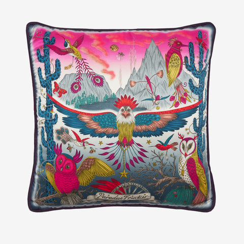 The Front of the Frontier cushion in Magenta showing the Wide spread American eagle, cactus and owls, designed by Emma J Shipley, this silk cushion is perfect to throw on your bed or to brighten up a chair or sofa