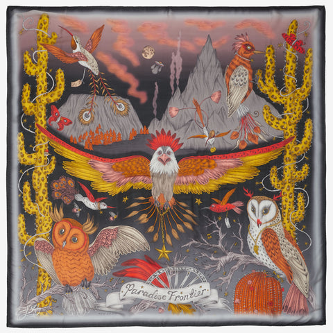 The Frontier designer silk scarf, made in Italy. Hand drawn by Emma J Shipley, this luxurious scarf features magical creatures of the wild west