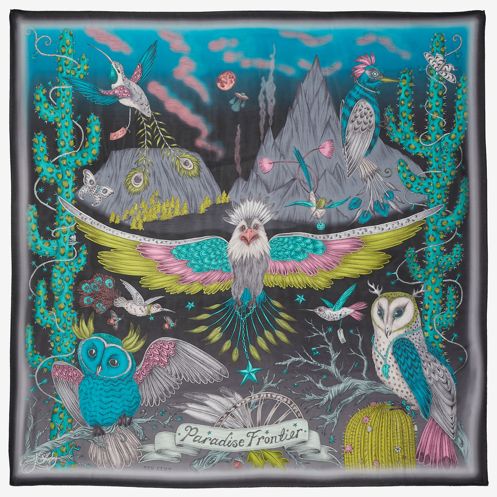 The Frontier design by Emma J Shipley, on a silk chiffon scarf, dramatic combination of acid lime, marvellous magenta and bright blue on a black background.