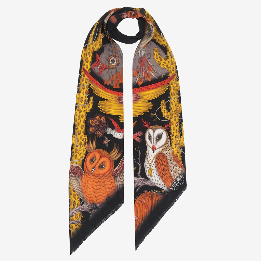 The Frontier silk skinny scarf, designed by Emma J Shipley and printed in Italy. Inspired by nature, the design features owls and leopard print cacti