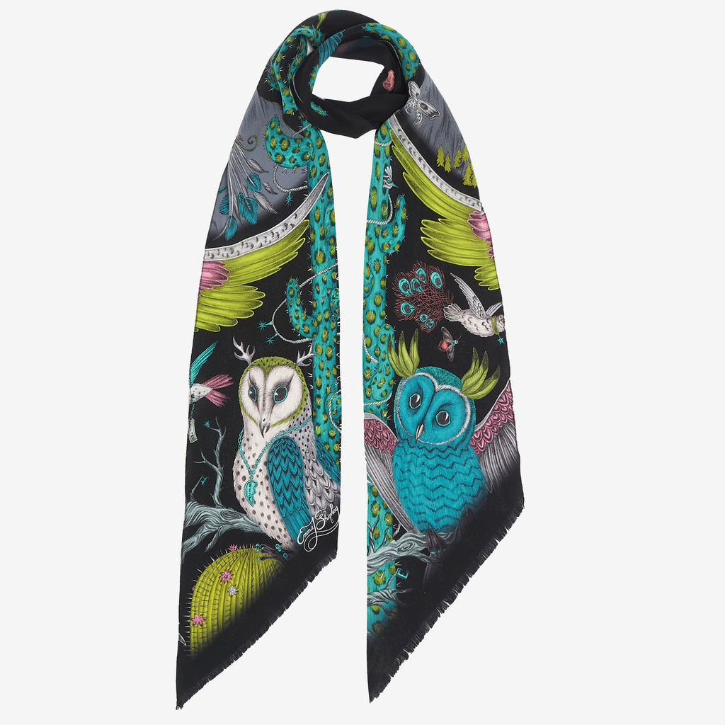 The Frontier silk skinny scarf, with a design taken from Emma J Shipley's original drawing. This silk scarf features magical owls, leopard print cactus and surreal details. Made in Italy.