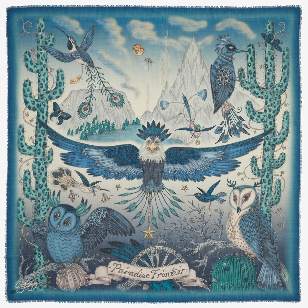 Emma J Shipley's original hand drawn frontier print, in an vibrant blue on a wool scarf.