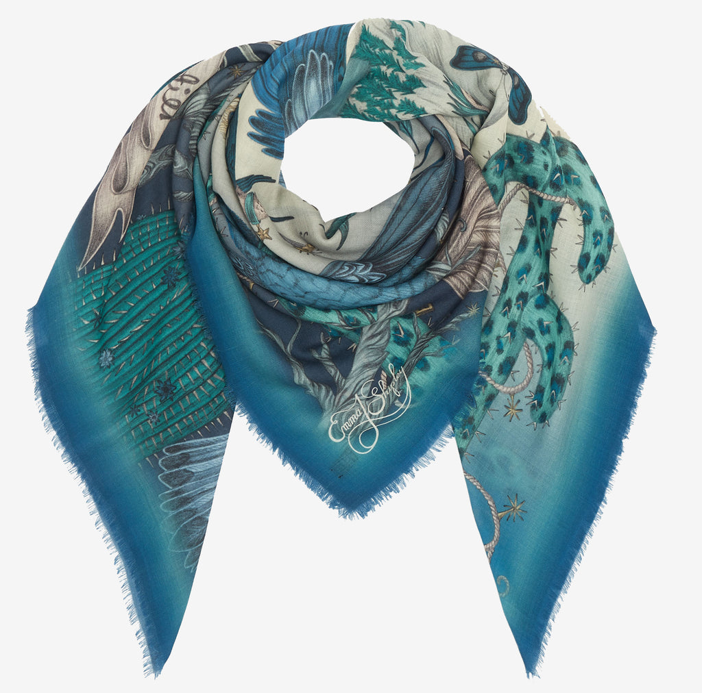 Emma J Shipley original hand drawn frontier wool scarf in exquisite blue hues.
