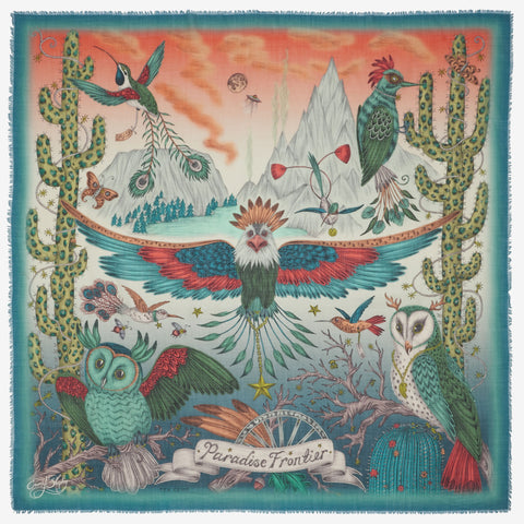 Emma J Shipley's Frontier wool scarf in illuminating hues of teal and complimentary shades of orange on a fine wool scarf