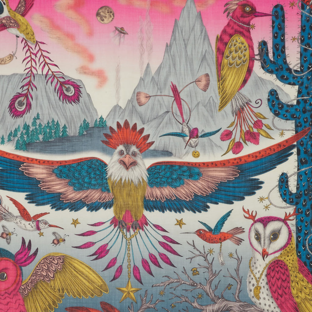 Detail of Emma J Shipley's multicoloured magenta Frontier fine wool scarf, featuring an eagle and owl.