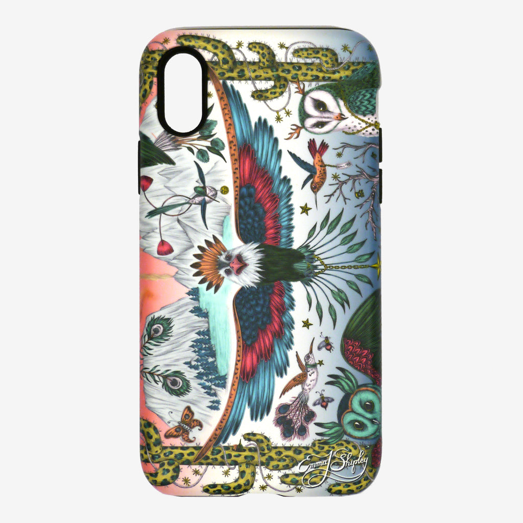Front view of the Frontier Phone Case from the latest phone case collection by Emma J Shipley featuring a majestic eagle, curious owls, hummingbirds and a wild west scene