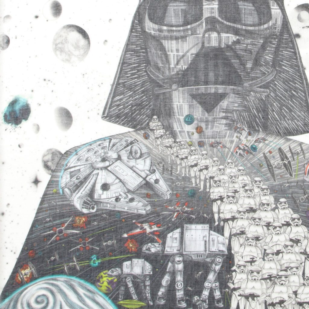 Detail of Star wars luxury cotton and silk scarf made in italy