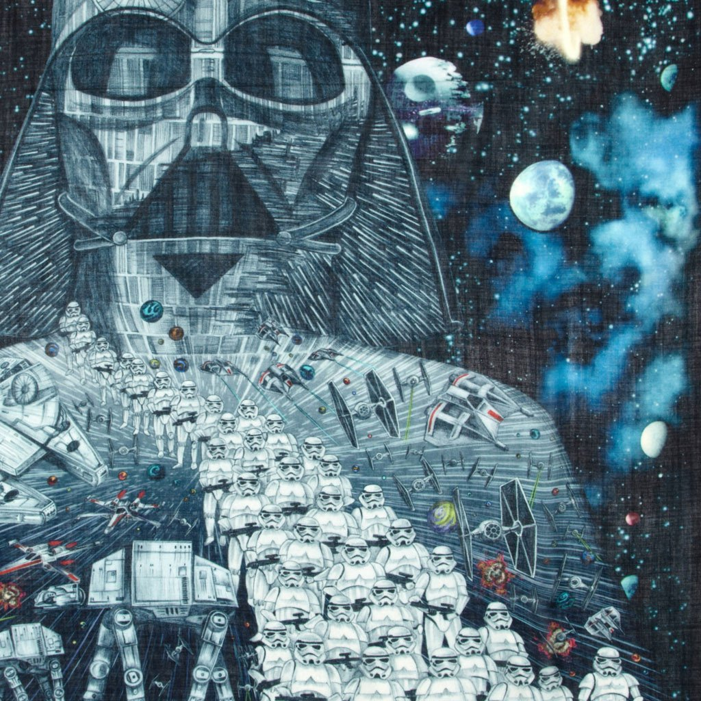 Detail of Darth Vader luxury art scarf saga with stormtroopers with death star