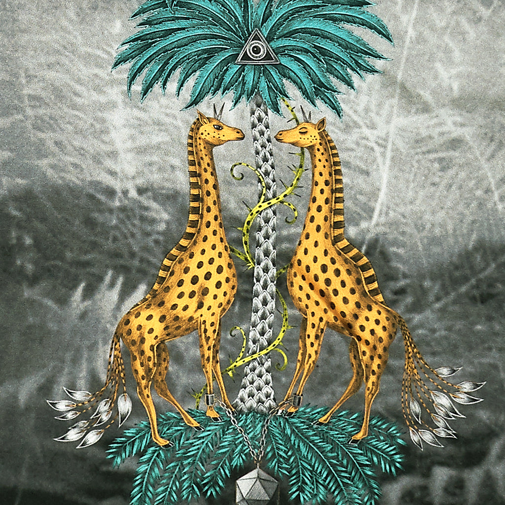 The hand-drawn design features two playful giraffes under a curious palm tree, surrounded by butterflies and hummingbirds.
